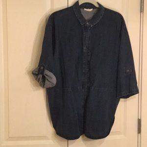 Eileen Fisher dark denim big shirt